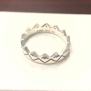 Pandora Exotic Geometric Crown Ring 198033CZ
